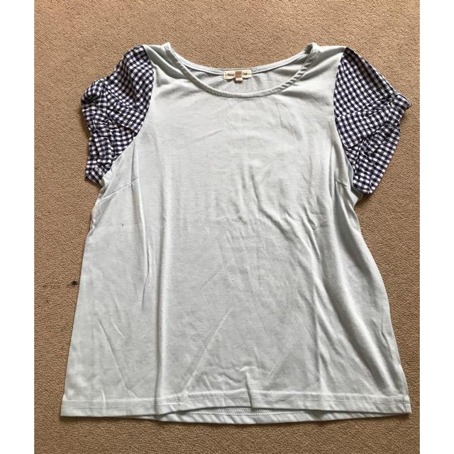 袖チェックTシャツ レディースのトップス(Tシャツ(半袖/袖なし))の商品写真