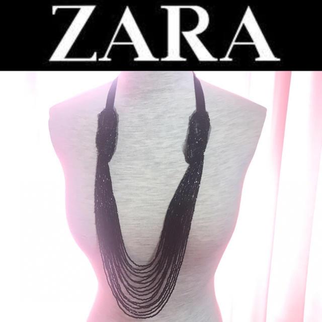 ZARA(ザラ)のZARA ザラ ビーズ ネックレス 刺繍 リボン ブラック 金属アレルギーOK レディースのアクセサリー(ネックレス)の商品写真