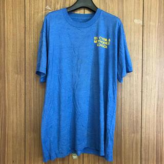 1041 古着 プリント Tシャツ メンズ XL ブルービッグシルエット(Tシャツ/カットソー(半袖/袖なし))