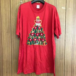1042 古着 プリント Tシャツ メンズ XLサイズ レッド ビッグシルエット(Tシャツ/カットソー(半袖/袖なし))