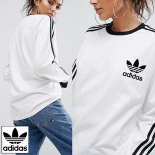 アディダス(adidas)のadidas ロングTシャツ スリーストライプ ホワイト(Tシャツ(長袖/七分))