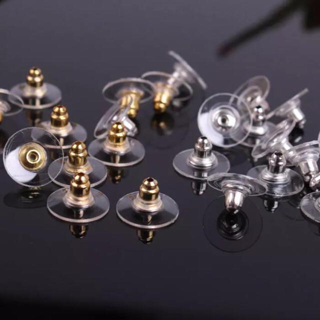 6ペア 12個セット 円盤 ピアスキャッチ 下向き防止 シャネル同型 シルバー ハンドメイドの素材/材料(各種パーツ)の商品写真
