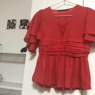 ザラ(ZARA)のZARA 赤ブラウス(シャツ/ブラウス(半袖/袖なし))