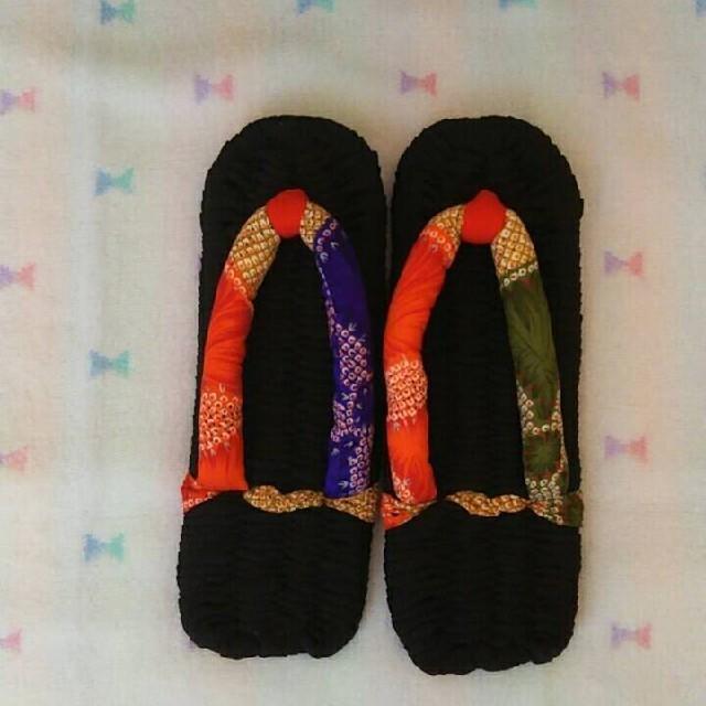 布ぞうり ハンドメイド 絹の黒生地 ハンドメイドのファッション小物(その他)の商品写真