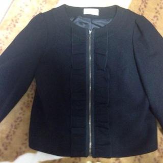 オペーク(OPAQUE)のオペーク購入 七分袖ノーカラーウールジャケット 日本製 ブラック(ノーカラージャケット)