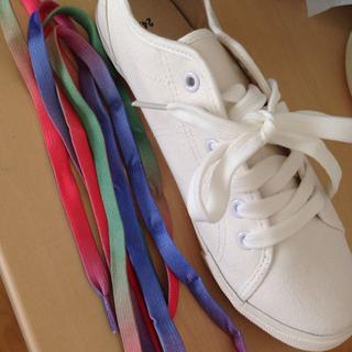 白スニーカー、カラフルな靴ひも(スニーカー)