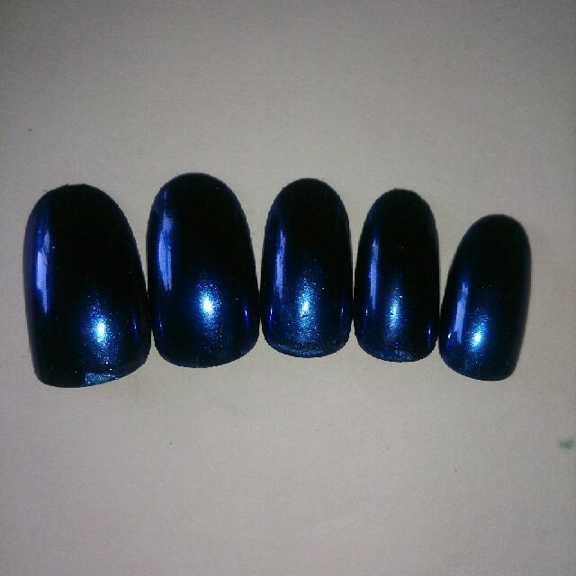 ネイルチップ ミラーネイル ブルー ハンドメイドのアクセサリー(ネイルチップ)の商品写真