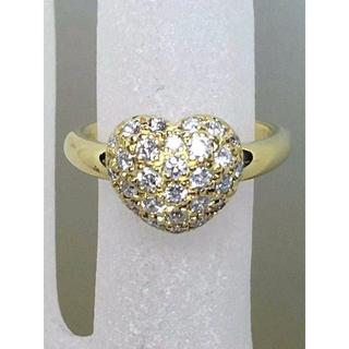 ★非常に可愛らしいハート型ダイヤパヴェリング D0.52ct K18★(リング(指輪))