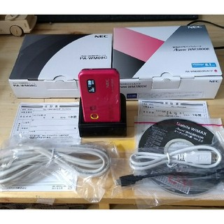 エヌイーシー(NEC)の美品WIMAXルーター/AtermWM3800R/専用クレードルPA-WM08C(PC周辺機器)