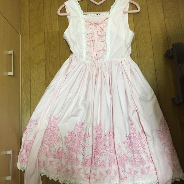 BABY,THE STARS SHINE BRIGHT(ベイビーザスターズシャインブライト)のBABY  ジャンパースカート(ピンク) レディースのワンピース(ひざ丈ワンピース)の商品写真