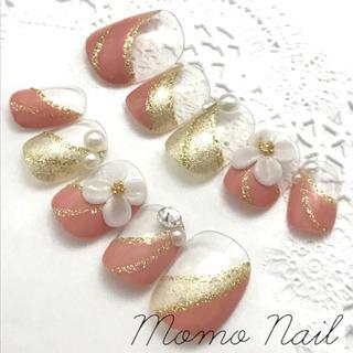 74 モヘアピンク×ゴールド変形フレンチ 3Dのお花と大粒スワロフスキー