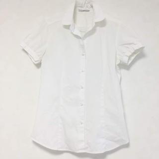ジーユー(GU)のGu ジーユー ブラウス 白 ホワイト ワイシャツ 丸襟 スカンツ ビジネス(シャツ/ブラウス(半袖/袖なし))