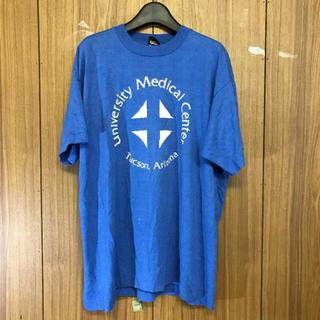598 古着 プリント Tシャツ メンズ XLサイズ ブルー ビッグシルエット(Tシャツ/カットソー(半袖/袖なし))