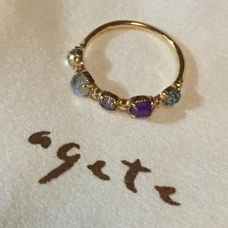 アガット(agete)の美品  agete 指輪 リング 11号 販売証明書、ブランド小袋付き(リング(指輪))