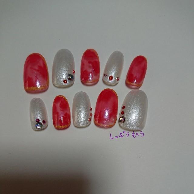 ネイルチップ 赤べっ甲ネイル ハンドメイドのアクセサリー(ネイルチップ)の商品写真
