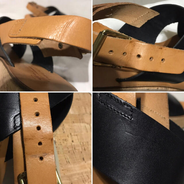 FABIO RUSCONI(ファビオルスコーニ)の新品 ファビオルスコーニ ウエッジサンダル コルク 37 黒 レディースの靴/シューズ(サンダル)の商品写真