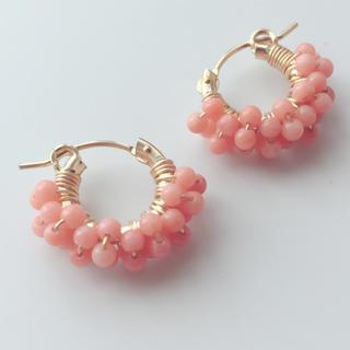 ピンクオレンジコーラル14kgfフープピアスorフープイヤリング♡珊瑚♡天然石♡(ピアス)