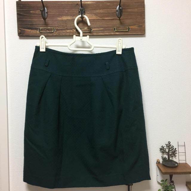 pour la frime(プーラフリーム)の最終値下げ!pour la flime 秋色 深緑色 裏地付きスカート レディースのスカート(ひざ丈スカート)の商品写真