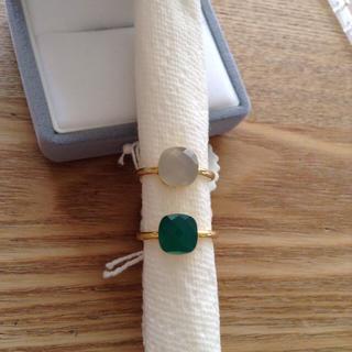 グリーンオニキス&ホワイトオニキス リング 10〜11号 インドジュエリー 新品(リング(指輪))