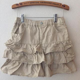 ジーユー(GU)のkids140  GU ティアードスカート ベージュ(スカート)