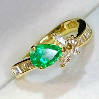 🌹お値引き❣️クッキリ鮮やかカラー エメラルド&ダイヤモンドリング(リング(指輪))