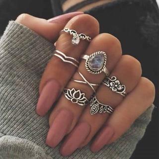 リング 指輪 7個セット アクセサリー シルバー ゴールド 蓮 花 ストーン(リング(指輪))
