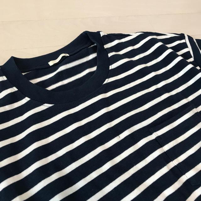 GU(ジーユー)のGUネイビー×ホワイトボーダーTシャツ レディースのトップス(Tシャツ(半袖/袖なし))の商品写真