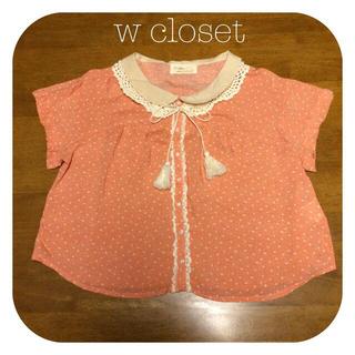 ダブルクローゼット(w closet)のw closet つけ襟付き花柄ブラウス(シャツ/ブラウス(半袖/袖なし))