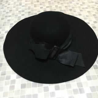 5351 リボン付き 女優帽  つば広帽 新品未使用 フェルト