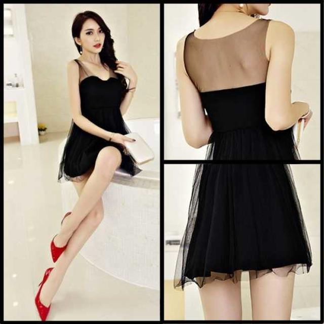 キャバドレス 55B 黒 ブラック Aライン ミニ ドレス ミニワンピ レディースのフォーマル/ドレス(ミニドレス)の商品写真