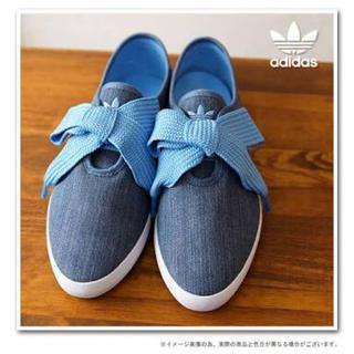 アディダス(adidas)の♡adidas♡23.5cmリレースロースニーカーデカリボンデニムサックスブルー(スニーカー)