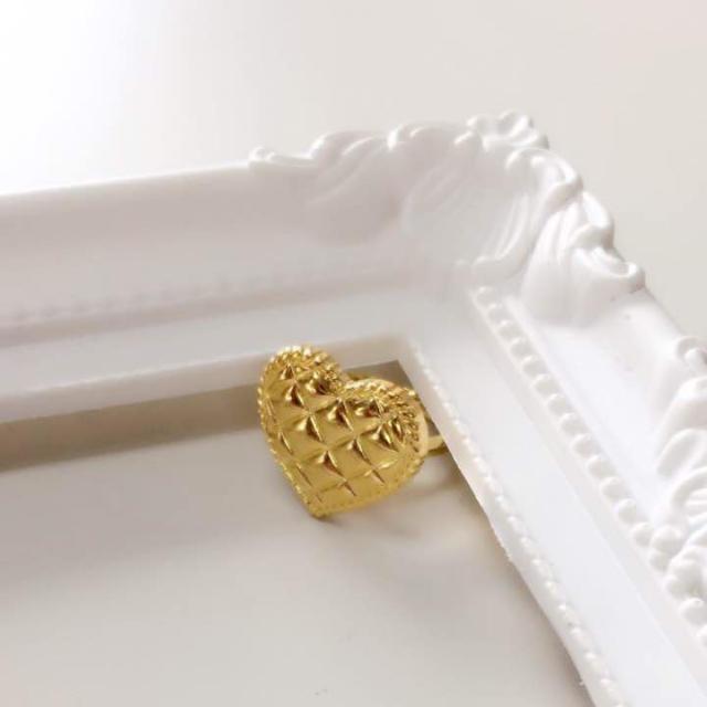 キルティングハート ゴールドリング ハンドメイドのアクセサリー(リング)の商品写真
