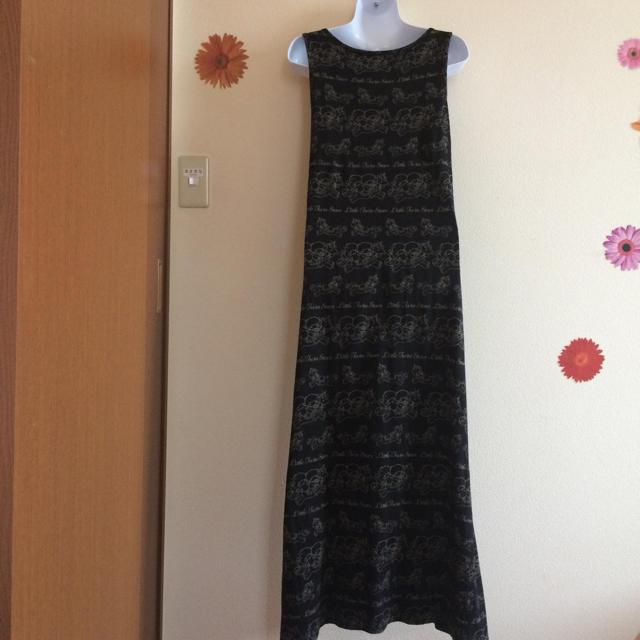 UNIQLO(ユニクロ)の綿100% マキシ丈ワンピース 黒×ベージュ☆ レディースのワンピース(ロングワンピース/マキシワンピース)の商品写真