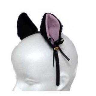 黒猫 コスプレふわふわ猫耳カチューシャ  ヘッドフォンタイプ 簡単仮装アイテム(小道具)