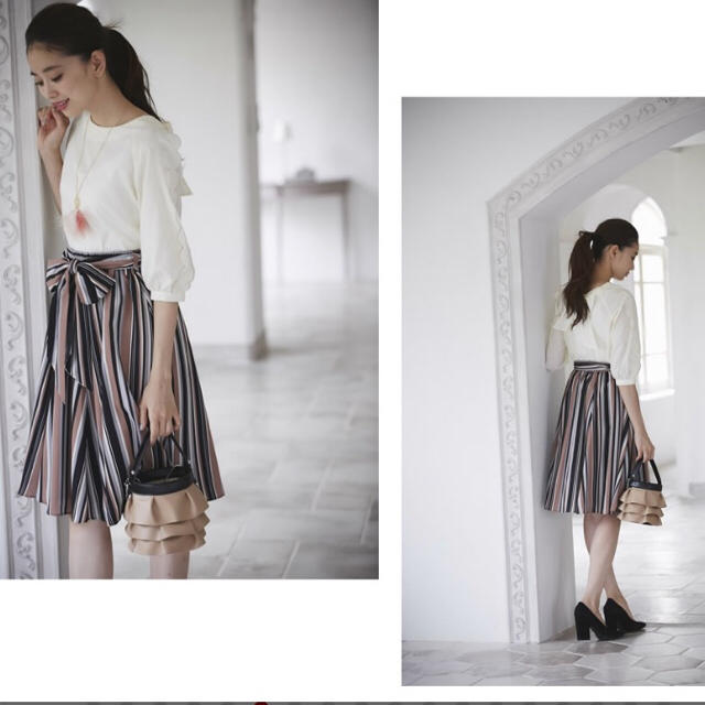 tocco(トッコ)のtocco♡マルチストライプスカート♡モカ レディースのスカート(ひざ丈スカート)の商品写真