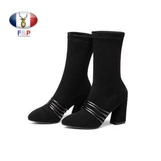 美脚カバーハラコレザーコンビスエードラムレザーハーフブーツ裏薄起毛付き全2色(ブーツ)