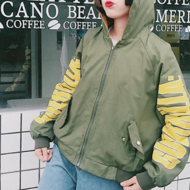 ♥️原宿韓国系  リバーシブル  ボーイフレンド  ジャケット グリーン レディースのトップス(パーカー)の商品写真