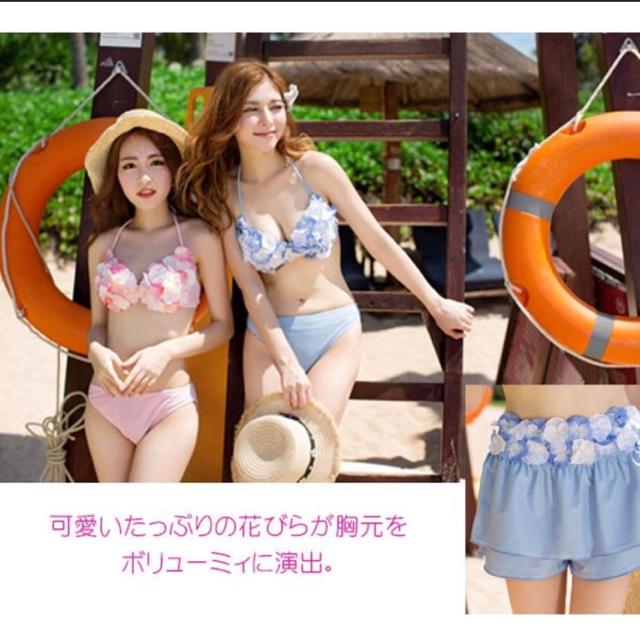 花びらビキニ ブルー レディースの水着/浴衣(水着)の商品写真