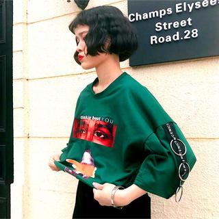 ビッグシルエット 緑シャツ / ナイキ シュプリーム アディダス ビョーク(Tシャツ(半袖/袖なし))