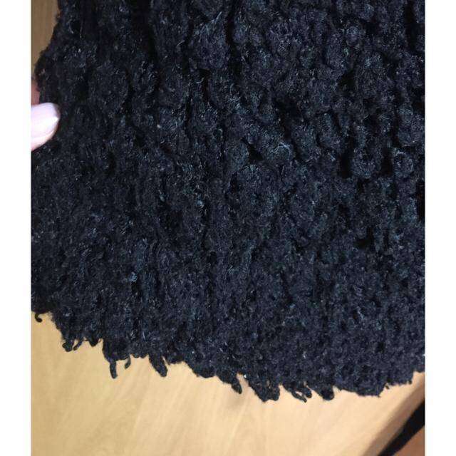 merry jenny(メリージェニー)のmerry jenny もじゃもじゃリボンコート ブラック レディースのジャケット/アウター(毛皮/ファーコート)の商品写真