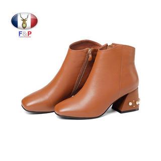 スクエアトゥハラコレザーブーツヒールパール付き裏薄起毛付き全2色(ブーツ)