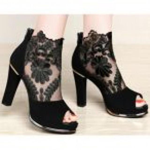 【新作】センテニアル ハイヒール メッシュ オシャレ ブラック レディースの靴/シューズ(ハイヒール/パンプス)の商品写真