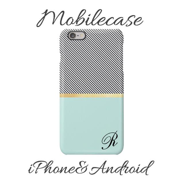 名入れ可能♡ボーダーブルー柄スマホケース♡iPhone以外も対応機種多数ありの通販 by welina mahalo|ラクマ