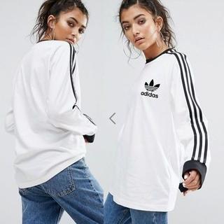 アディダス(adidas)の★adidas★3ストライプス ロング スリーブ Tシャツホワイト 【S~M】(Tシャツ(長袖/七分))