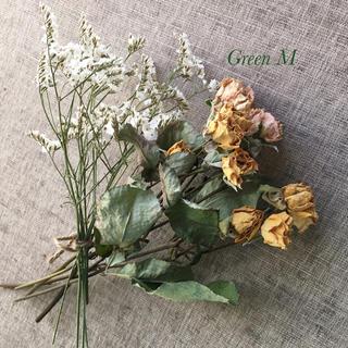 98番◉アンティークな薔薇2色ミックス12個&スターチスセット☆送料無料(ドライフラワー)