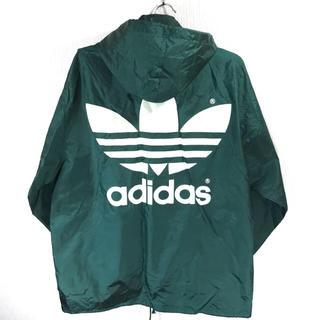 アディダス(adidas)の美品 90s!ビッグトレフォイル! アディダス デサント アノラック M L 緑(ナイロンジャケット)