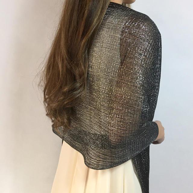 75f5022329d00 新品☆ラメラメ 結婚式ショール フォーマルストール ブラック レディースのフォーマル ドレス(その他