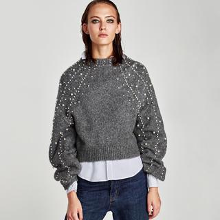 ザラ(ZARA)の新作❗️ZARA パール付きセーター(ニット/セーター)