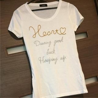デュークボイド(DUKE BOYD)のDUKEの刺繍つき白Tシャツ(Tシャツ(半袖/袖なし))