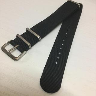 腕時計用 20mm ナイロンNATOベルト ①-1 ブラック 黒 1本  (レザーベルト)